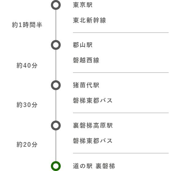 東京駅から (公共交通機関)